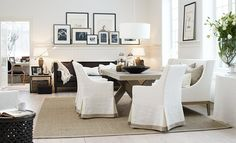 dining chair slip covers in white with taupe trim pale grey wood X frame table - The Paper Mulberry: White