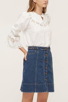 52cedfc1cf LOVER® | Prairie Blouse Waist Skirt, High Waisted Skirt, Denim Skirt, High