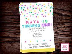 FIRST BIRTHDAY INVITATION Rainbow Dot Birthday Invitation, Printable First Birthday Invitation, First Birthday Invite, Rainbow Dot Invite by BlissfulBethDesigns on Etsy