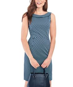 2bb9118048 Lands End Radiant Navy Dots Portrait-Collar Sleeveless Sheath Dress - Women  | zulily Fabulous
