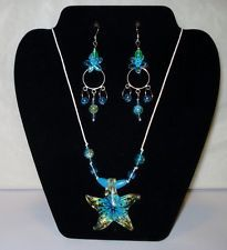 Glass Starfish & Turquoise Flower Necklace & Earrings Set http://www.ebay.com/itm/181205458887?ssPageName=STRK:MESELX:IT&_trksid=p3984.m1555.l2649