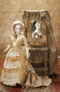 As in a Looking Glass: 223 Beautiful French Bisque Poupee by Gaultier in Elegant Antique Costume
