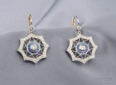 Platinum, Sapphire, and Diamond Earpendants Sapphire Earrings, Stud Earrings, Scroll Design, Designer Earrings, Blue Sapphire, Fine Jewelry, Auction, Sterling Silver, Diamond