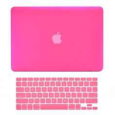 Top Case Rubberized Hard Case Cover for 13.3-Inch Apple MacBook Pro with Retina Display A1425/A1502 Bundle with Keyboard Cover and Mouse Pad - Hot Pink