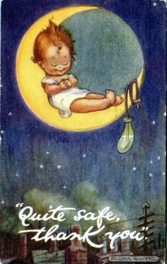 Flora White Postcard Baby on The Moon