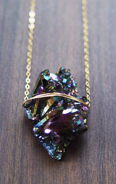 Titanium Druzy Necklace One of a Kind por friedasophie en Etsy
