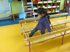 """Stepping over """"layers"""" for - balance - praxis - trunk and pelvic stability - vision Gross Motor Activities, Gross Motor Skills, Physical Activities, Physical Education, Activities For Kids, Games For Fun, Pe Games, Preschool Gymnastics, Kids Motor"""