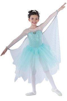 15237 Let It Go | Kids Showcase / First Performance / Dance Costumes / Recital Wear / Disney Frozen | Dansco 2015 | Silver spotlight sequin on mint spandex, mint velvet and jade spandex leotard with sequined white mesh inserts and sleeves. Attached mint glimmer tulle tutu. Separate matching drape for back and arms. Silver spotlight sequin braid, brooch and nude elastic trim.