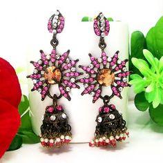 Victorian Black Pendant Tokri Jhumki Pink Orange