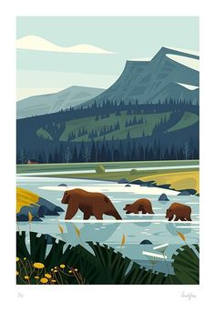 Creation of a panoramic illustration depicting wildlife in the Yellowstone national park in the United states, for the gorgeous french magazine America. Art Et Illustration, Family Illustration, Mountain Illustration, Flat Design Illustration, Guache, Art Graphique, Landscape Art, Art Inspo, Vector Art