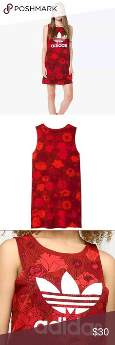 ADIDAS Originals Women Red Floral Trefoil Logo Sm ADIDAS Originals Women Red Floral Trefoil Logo Tank Short Mini Dress    A sporty yet feminine all over floral print tank dress by Adidas     70s inspired short dress combining a tank top style and a flower
