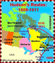 CCM, Gamma Yr, History W3: Info on Hudson and Cabot - Explorers of North America - EnchantedLearning.com
