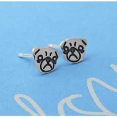 Plain Jane Pugs Sterling Silver Grumpy Pug Earrings ($22) ❤ liked on Polyvore featuring jewelry, earrings, stud earrings, sterling silver earrings, sterling silver jewellery, sterling silver jewelry and sterling silver stud earrings