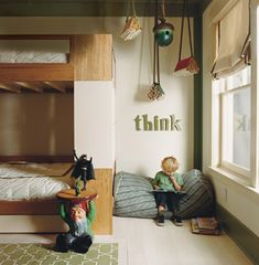 """interesting interior - kids' room, childrens' room with bunk beds, reading corner with """"think"""" and garden gnome Reading Nook Kids, Children Reading, Deco Kids, Style Deco, Floor Cushions, Book Nooks, Kid Spaces, Kids Decor, Kids Bedroom"""