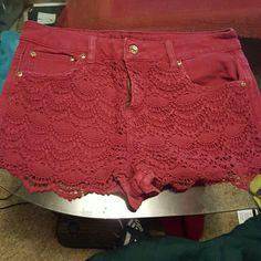 Denim shorts Red denim, baggy, no stains Dollhouse Shorts Jean Shorts