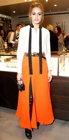 blouse skirt maxi skirt olivia palermo orange shoes overknee boots over knee high boots