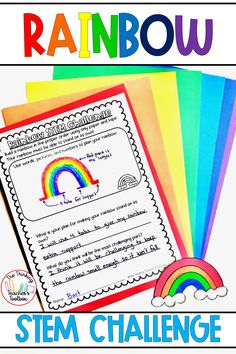 This rainbow STEM activity is perfect for spring, St. Patrick's Day, or anytime in the classroom! Students can work in teams or independently, and it works great for distance learning. This low-prep project is engaging and easy to put together. You just need construction paper and glue sticks. Plan, design, test, and build a rainbow. Rainbow STEM is perfect for fun Friday, centers, science, or team building. Primary Maths Games, Elementary Education Activities, Science Curriculum, Science Classroom, Classroom Resources, Science Fun, Science Ideas, Spring Activities, Science Activities
