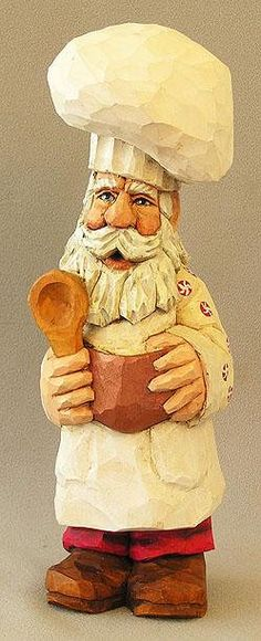 Chef Santa with Bowl Wood Carving From ScottCarvings.com SA99_9.5 X 3 X 3