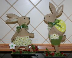 Large Wooden Easter Rabbit - MyFancy House Home Decoration - Tablewear- Sales Easter Projects, Easter Crafts, Easter Bunny, Easter Eggs, Wood Projects, Projects To Try, Free To Use Images, Diy Ostern, Wooden Animals