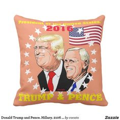 Donald Trump and Pence. Hillary. 2106 election. Outdoor Pillow