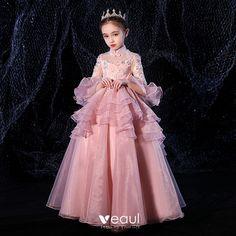 Mode Violet Dégradé De Couleur Robe De Soirée 2020 Princesse Bretelles Spaghetti Manches Courtes Appliques En Dentelle Perlage Ceinture Glitter Tulle