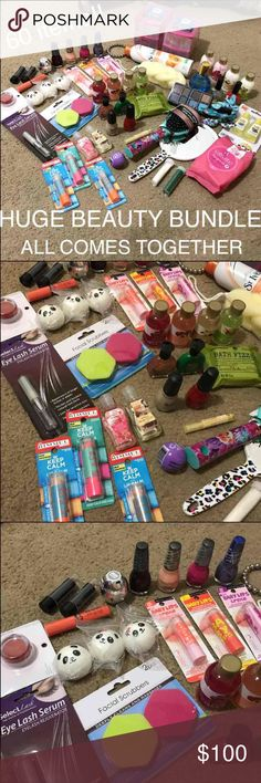 Huge beauty bundle All brand new Package includes 60 items  3 rimmel London keep calm &lip balms 3 baby lips maybelline 1 mirror  1 brush  1 30 pack makeup wipes  1 eyelash serum  1 elf lip tint  3 panda slow squishies 1 Nyx lip butter  2 lip sticks  1 revo hot chocolate  4 lotions 4 body gels  4 Kylie Jenner nail polishes  6 random nail polishes 3 palettes eye shadows same colors 1 bath fizzer  1 loofa  AND LOTS MORE!!!!!! Can't fit all of it in description Maybelline Makeup Eyeshadow