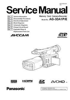 Panasonic HC MDH2 MDH2M Camcorder Service Manual and