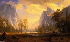 Yosemite Tal, öl auf leinwand von Albert Bierstadt (1830-1902, Germany)