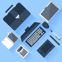 Check out Top view of workplace with laptop by robuart on Creative Market