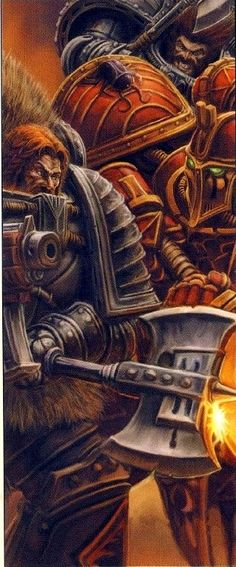 Space Wolves locked in deadly struggle with a Thousand Sons Astartes