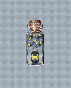 Night cross stitch pattern, bottle cross stitch, flashlight cross stitch, modern cross stitch, cross stitch pattern in pdf - - Butterfly Cross Stitch, Cross Stitch Art, Modern Cross Stitch, Counted Cross Stitch Patterns, Cross Stitch Designs, Cross Stitching, Cross Stitch Embroidery, Embroidery Patterns, Small Cross Stitch