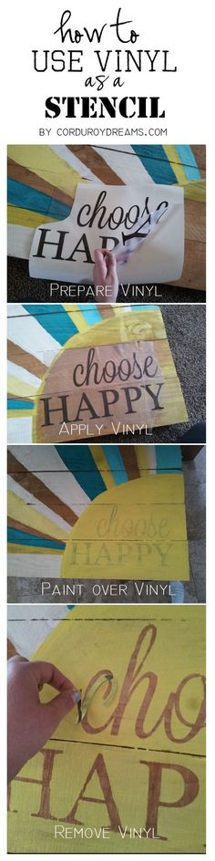 [DIY: Vinyl as a stencil. How to make a pallet sign WITHOUT the pallet. Pallet Crafts, Pallet Art, Pallet Signs, Vinyl Crafts, Vinyl Projects, Diy And Crafts, Craft Projects, Projects To Try, Diy Pallet