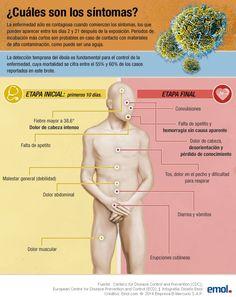 Conoce cuales son los síntomas del ébola para poder detectarlo a tiempo. #ebola #salud #infografia