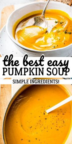 This easy pumpkin soup is quick to make and tastes amazing! The perfect healthy comfort food for the colder fall and winter months. Your family will love this! You can even make it ahead for easy meal prep and then reheat it throughout the week. Easy Meal Prep, Easy Meals, Fall Soup Recipes, Cooking Recipes, Healthy Recipes, Bake Sale Recipes, Healthy Snacks, Healthy Comfort Food, The Best