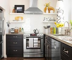 Small space can still have a big impact! More budget kitchens here: http://www.bhg.com/kitchen/remodeling/makeover/low-cost-ideas/?socsrc=bhgpin072714eliminateuppercabinets&page=13