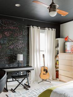 , Contemporary Boys Bedroom By Annie Hall Boston Interior Also Black Wall With Lessons Graffiti Also Cool String Acoustic Guitar Also Modern Brown Bureau Also White Wooden Ornament Or Doll Shelf Also A Keyboard: Get a Cute Interior Design with Boston Interior