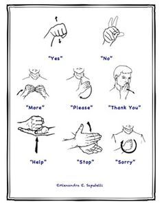 GREAT for non-verbal children :) Includes: posters of functional signs ?Smaller hand-outs of signs to send home to parents, as well as hand out to anybody who works with the child teachers ?Descriptions for more difficult signs Sign Language Phrases, Sign Language Alphabet, Learn Sign Language, British Sign Language, Speech And Language, Sign Language For Kids, Sign Language Basics, Simple Sign Language, Language Quotes