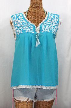 "Siren ""La Marbrisa"" Sleeveless Mexican Blouse -Aqua   White $52.95"
