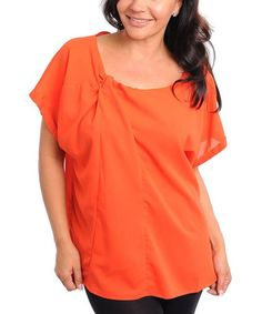 Take a look at this Orange Button-Back Short-Sleeve Top - Plus by Buy in America on #zulily today!