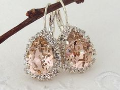 Pink Swarovski rhinestones teardrop earrings by EldorTinaJewelry, $48.00