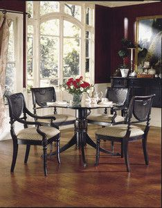 Heritage Dining Room Set Country French Round Glass Top With Four Side Chairs