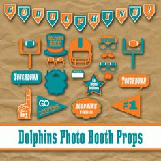 Miami Dolphins Football Photo Booth Props and Decorations - printable Birthday Party idea