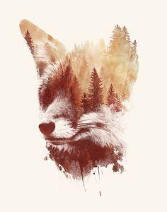 Premium-Poster Blinder Fuchs - Illustration - Home Art Fox, Fuchs Illustration, Fuchs Tattoo, Double Exposure Photography, Fox Print, Nature Tattoos, Art Graphique, Animal Tattoos, Fox Tattoos