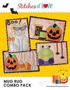 Halloween Mug Rug Pattern Combo Pack  by StitchesofLoveQuilts, $14.00