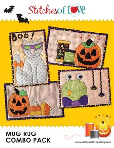 Halloween Mug Rug Pattern Combo Pack by StitchesofLoveQuilts, $14.00