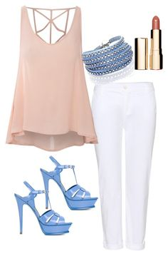 Cool feminine colour for summer  by julies-styling on Polyvore featuring polyvore, fashion, style, Glamorous, J Brand, Yves Saint Laurent, Sif Jakobs Jewellery, Clarins and clothing