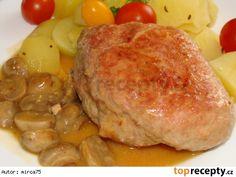 Vepřová kapsa plněná,se žampiony Pork, Chicken, Diet, Kale Stir Fry, Pork Chops, Cubs