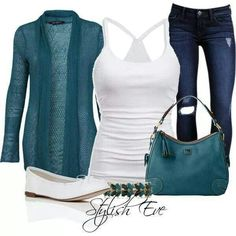 White tank top with teal sweater jacket and skinny jeans