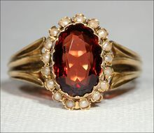 Antique Victorian Garnet & Pearl Ring in 18k  Gold