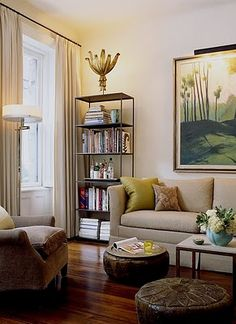 Natural light makes the chartreuse sofa pillows pop.